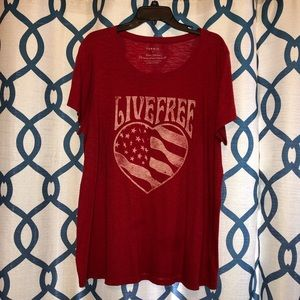 """Torrid Red """"Live Free"""" T-shirt Size 3"""